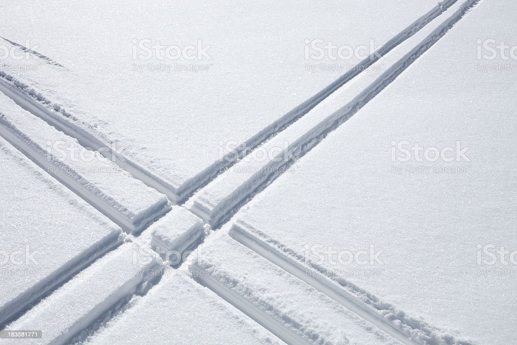 Ski tracks in the snow royalty-free stock photo