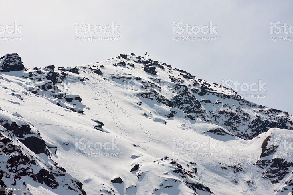 Ski Tracks On A Mountain stock photo