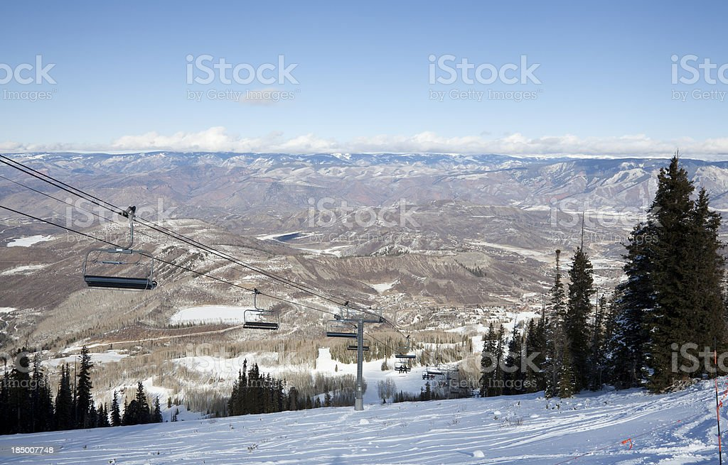 Ski Trail and Chairlift royalty-free stock photo