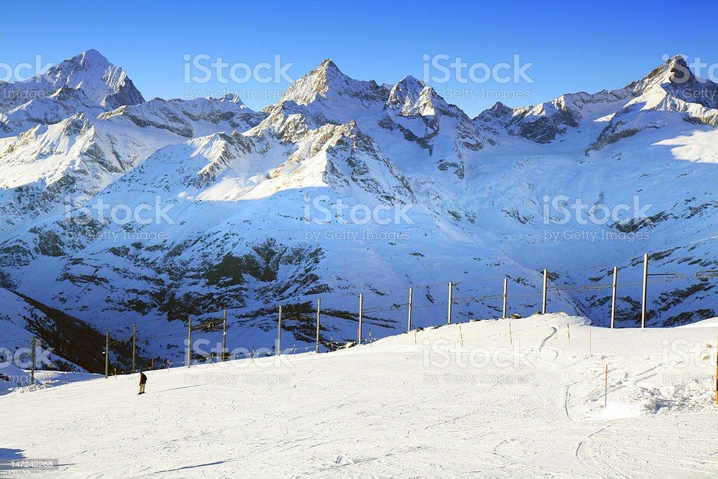 Ski Trail of Gornergrat, Switzerland royalty-free stock photo