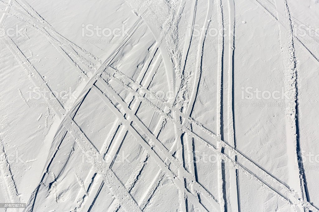 Ski trails off-piste stock photo