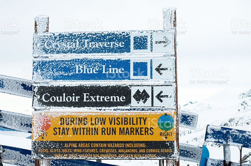 Ski trails signs Blackcomb Mountain, BC stock photo