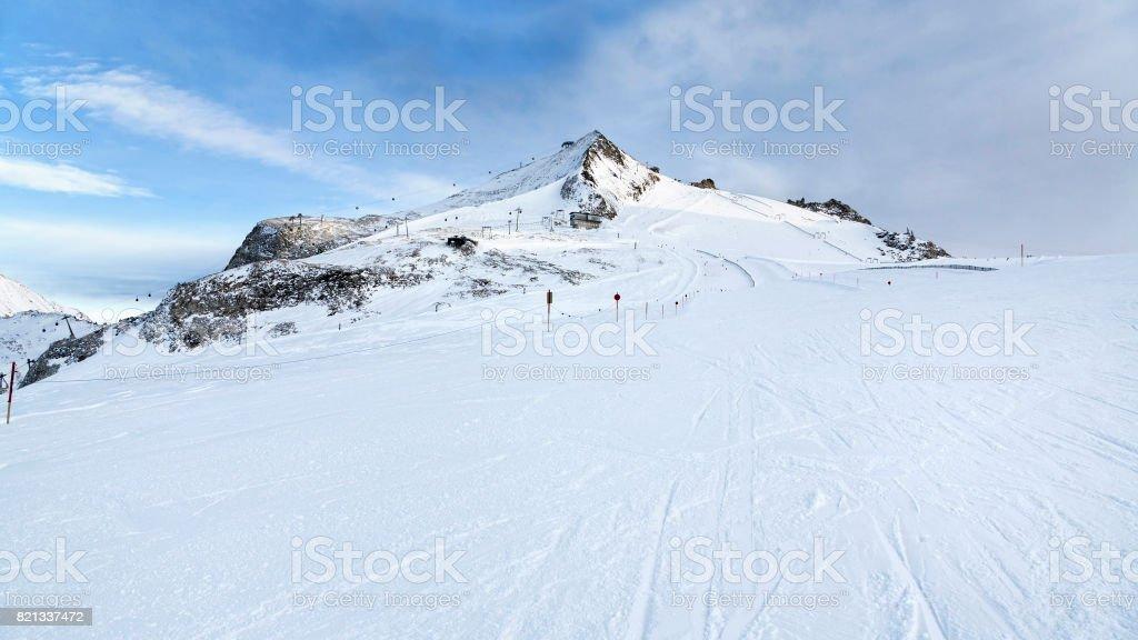 Ski trip at Hintertux Glacier with gondolas, ski runs and pistes in Ziilertal Alps. Austria stock photo