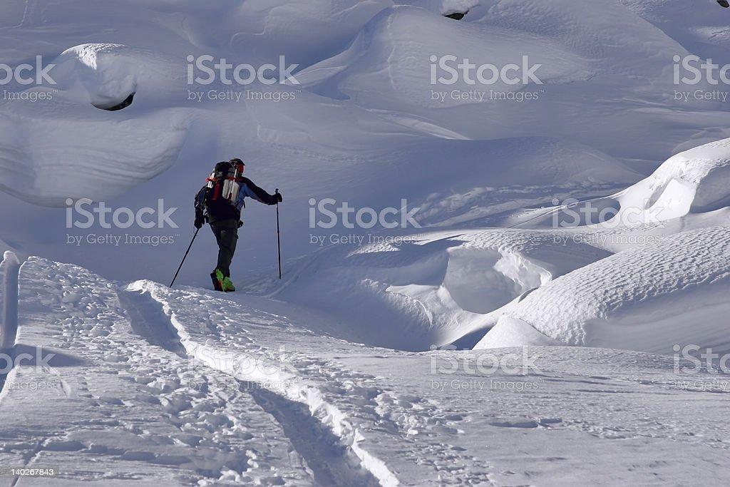 Ski wanderer on a glacier royalty-free stock photo