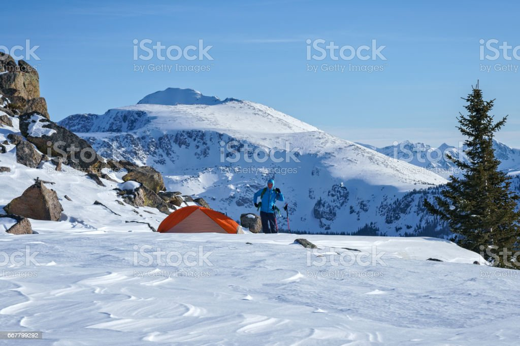 Ski Winter Camping stock photo