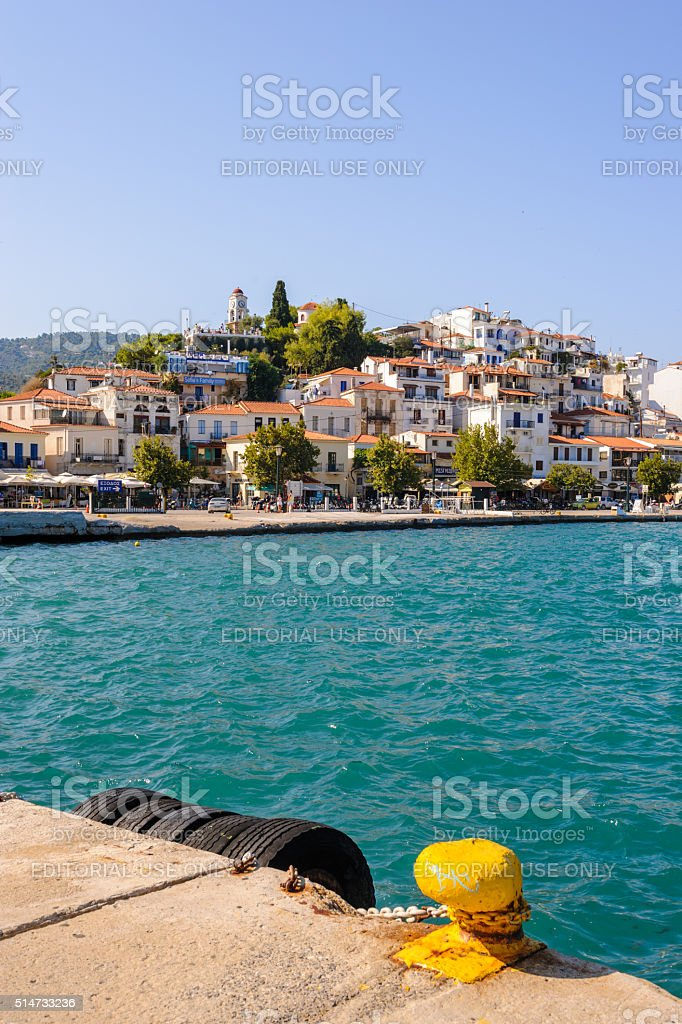 Skiathos town from harbor stock photo