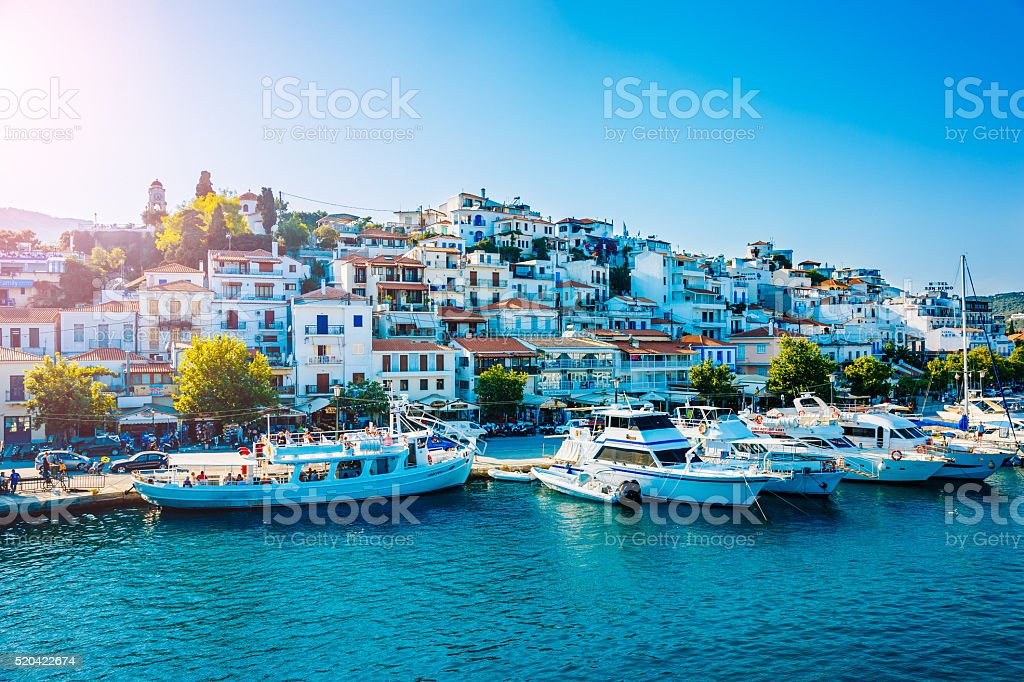 Skiathos town, Skiathos island, Greece stock photo