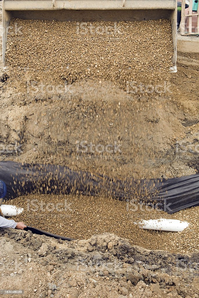 Skid Loader Backfilling a Drainage Pipe with Gravel stock photo