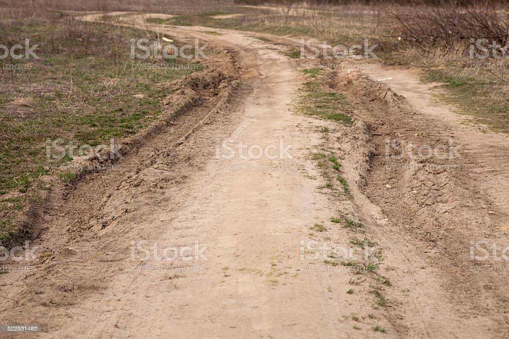 Skid Marks On Country Road stock photo