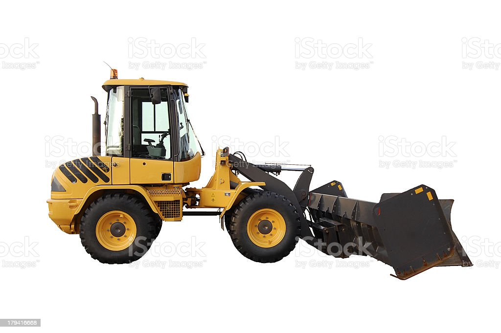 skid steer loader with snow pusher attachment, isolated royalty-free stock photo