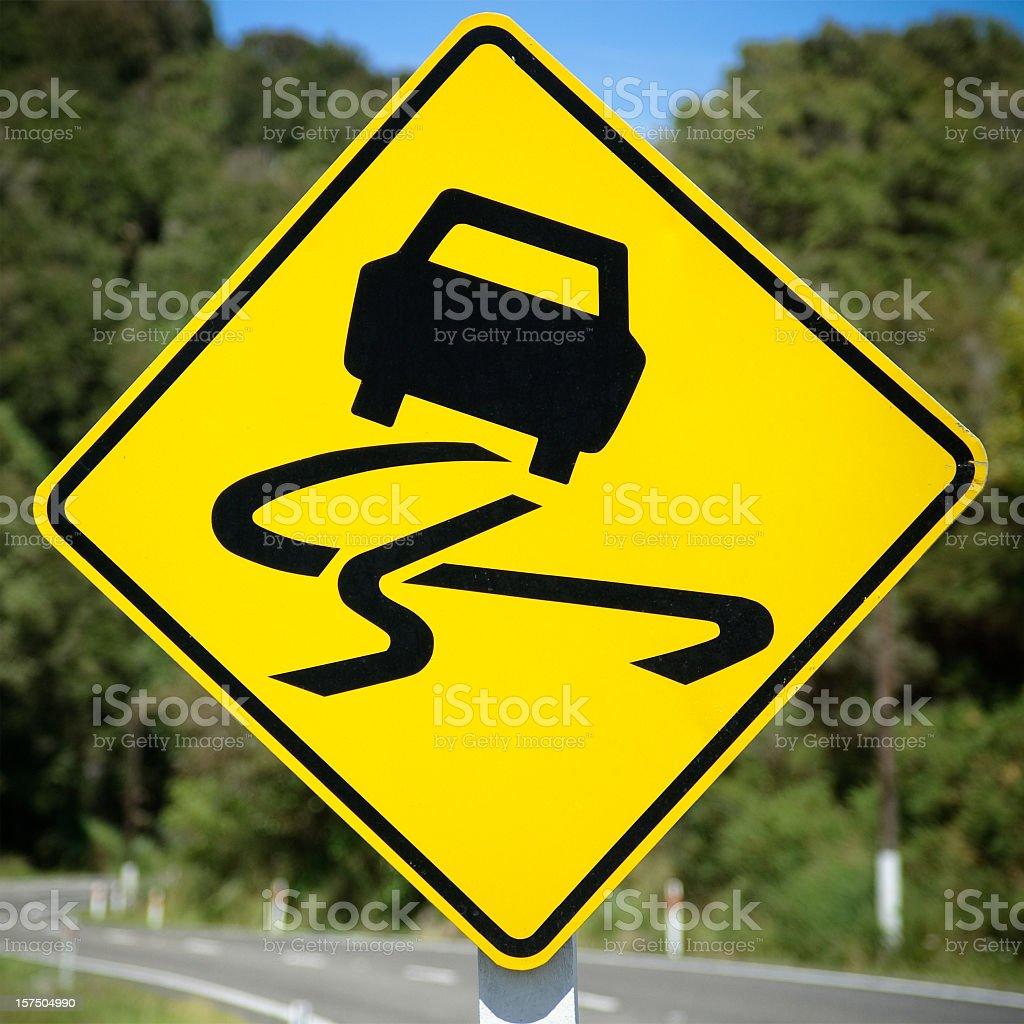 Skid Warning Sign stock photo
