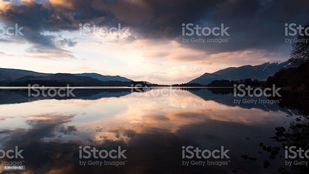 Skiddaw sunset on Derwent Water stock photo