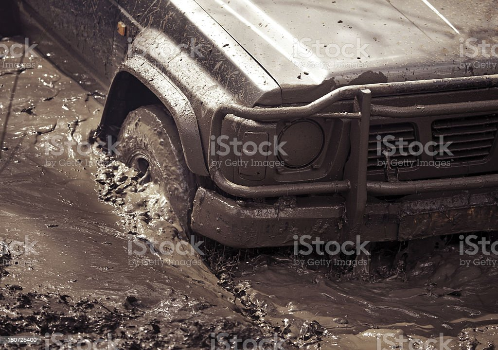 skidding in dirt off-road vehicle royalty-free stock photo