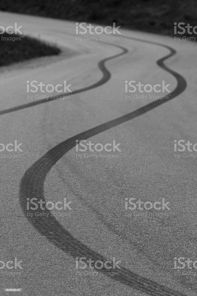 Skidmarks on the Pavement royalty-free stock photo