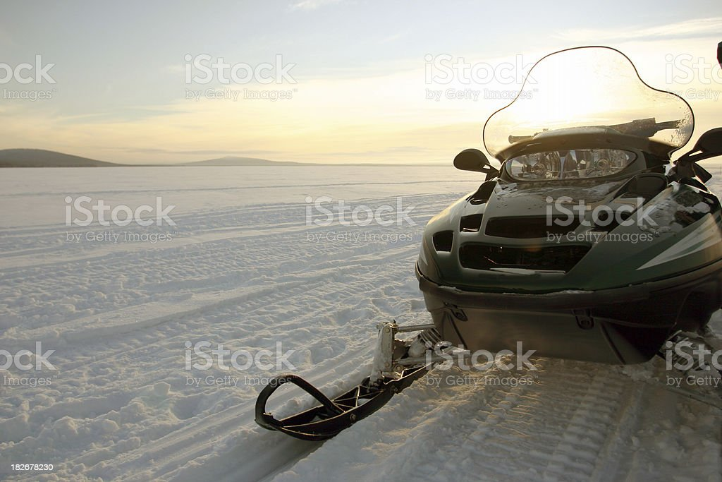 skidoo snowmobile on the snow royalty-free stock photo