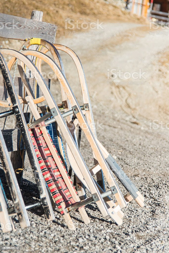 skids outdoor in sun without snow stock photo