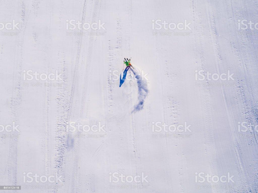 skier aerial drone perspektive stock photo