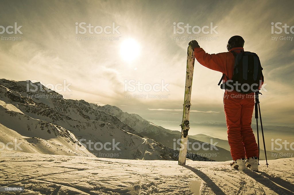 Skier Against Spectacular Mountainscape stock photo