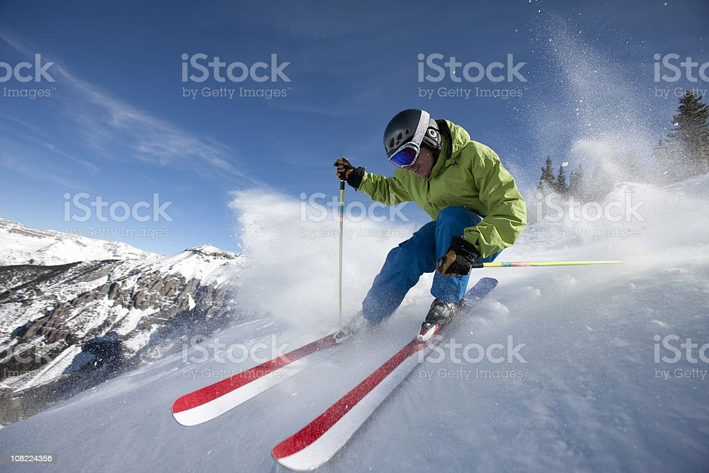 Skier close up in action stock photo