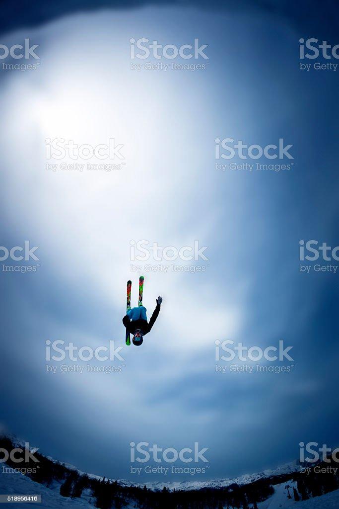 Skier doing backflip stock photo