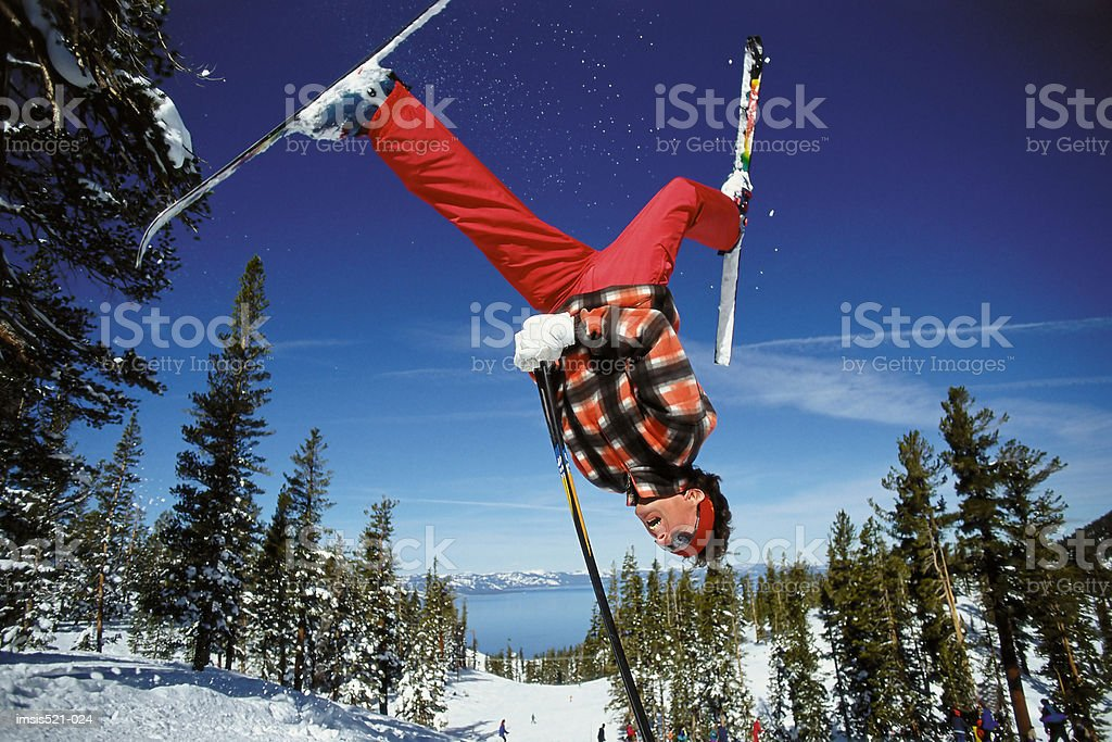 Skier doing summersault royalty-free stock photo