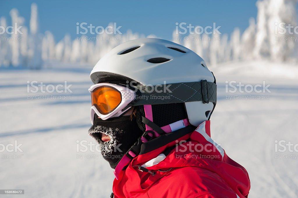 Skier enjoying the sun stock photo
