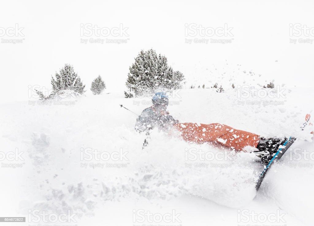Skier falling down stock photo