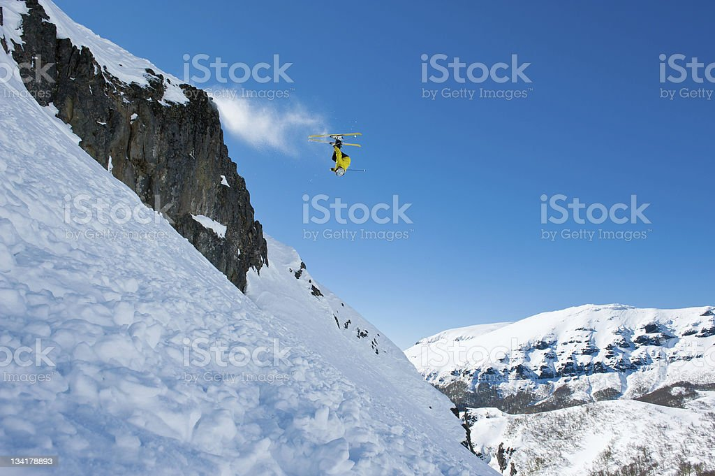 Skier head down in the air royalty-free stock photo