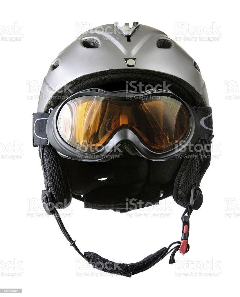 skier helmet with goggle stock photo