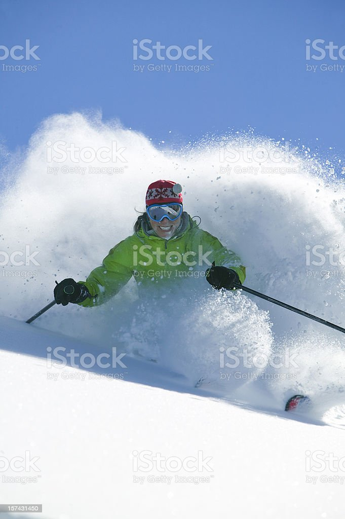 Skier in deep powder royalty-free stock photo