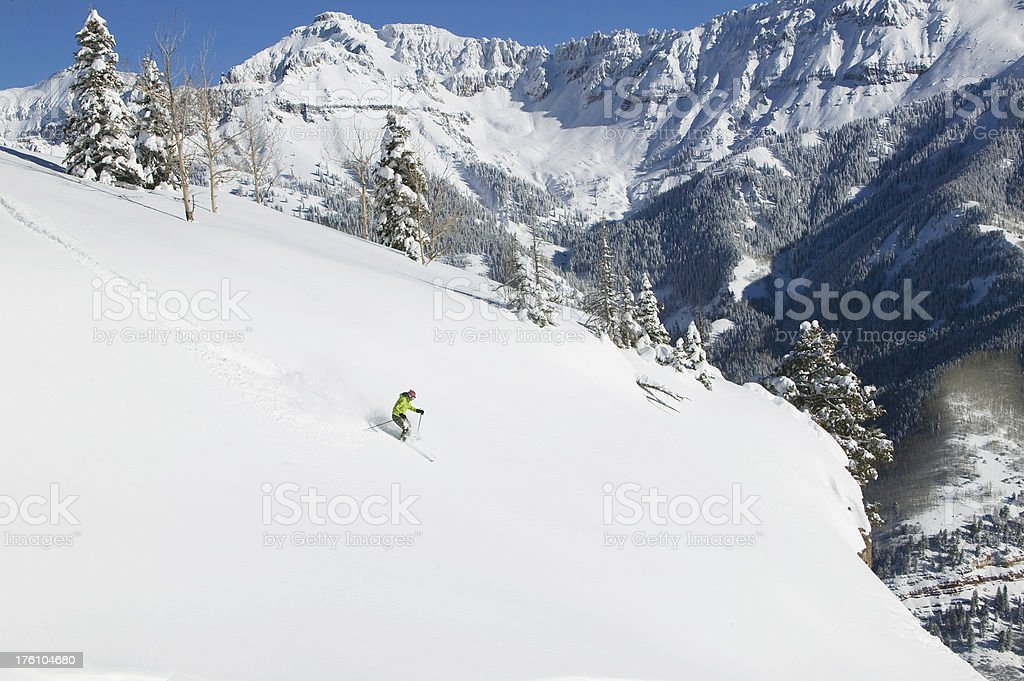 Skier in fresh snow royalty-free stock photo