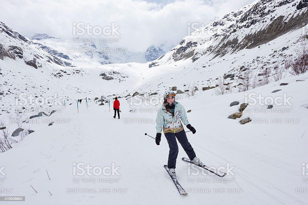 Skier in Morteratsch Valley stock photo