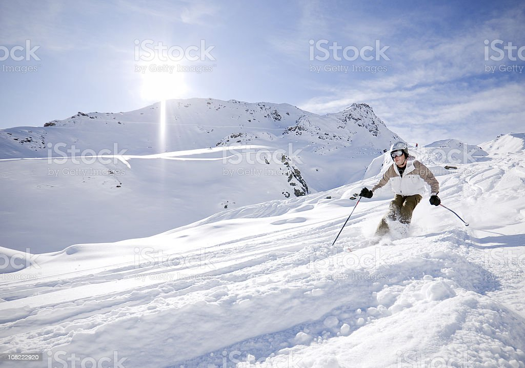 Skier in Powder Snow stock photo