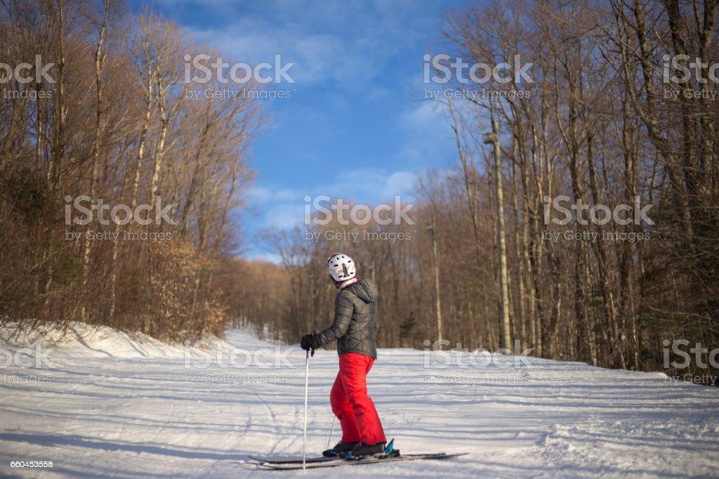 Skier in ski slope stock photo