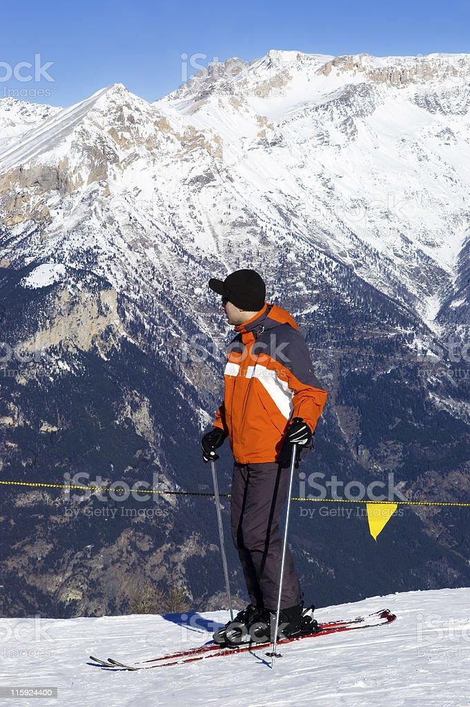 Skier in the Alps stock photo