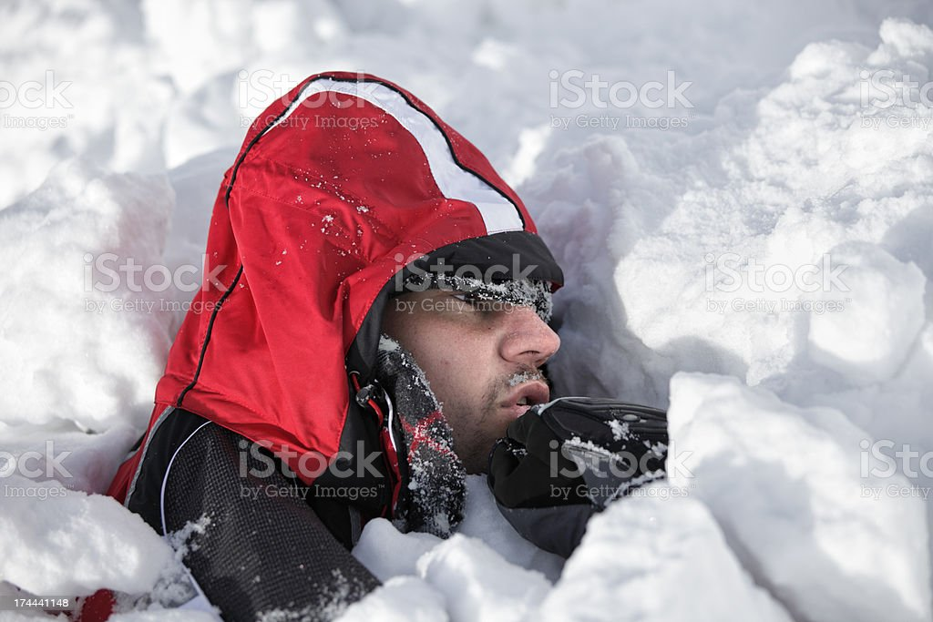 Skier in the avalanche stock photo