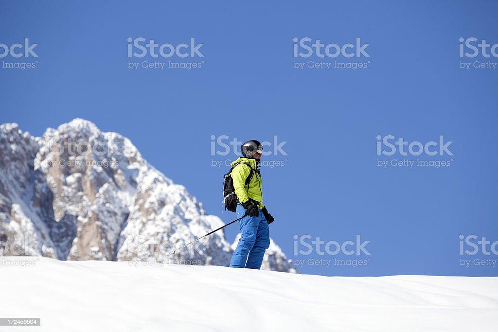 Skier in The Dolomites stock photo