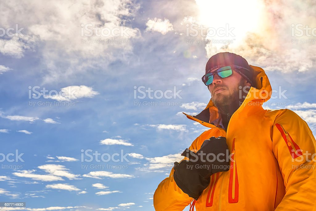 Skier in the Mountains stock photo