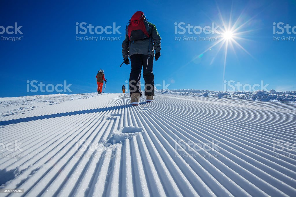 Skier is posing at camera at Gudauri resort i stock photo