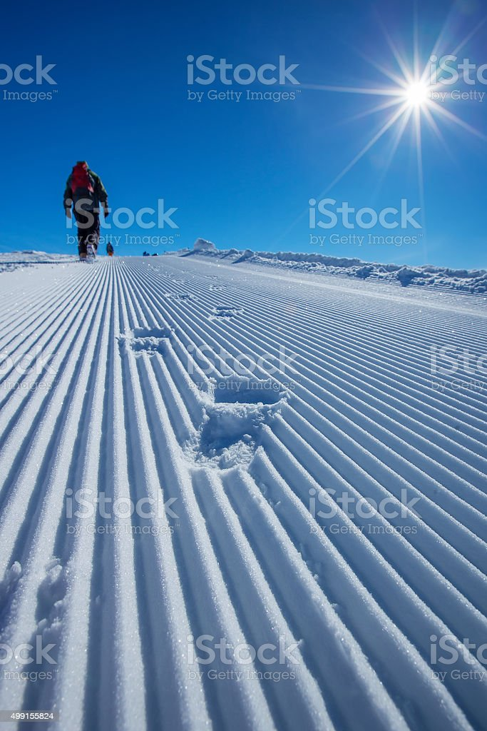 Skier is posing at camera at Gudauri resort stock photo
