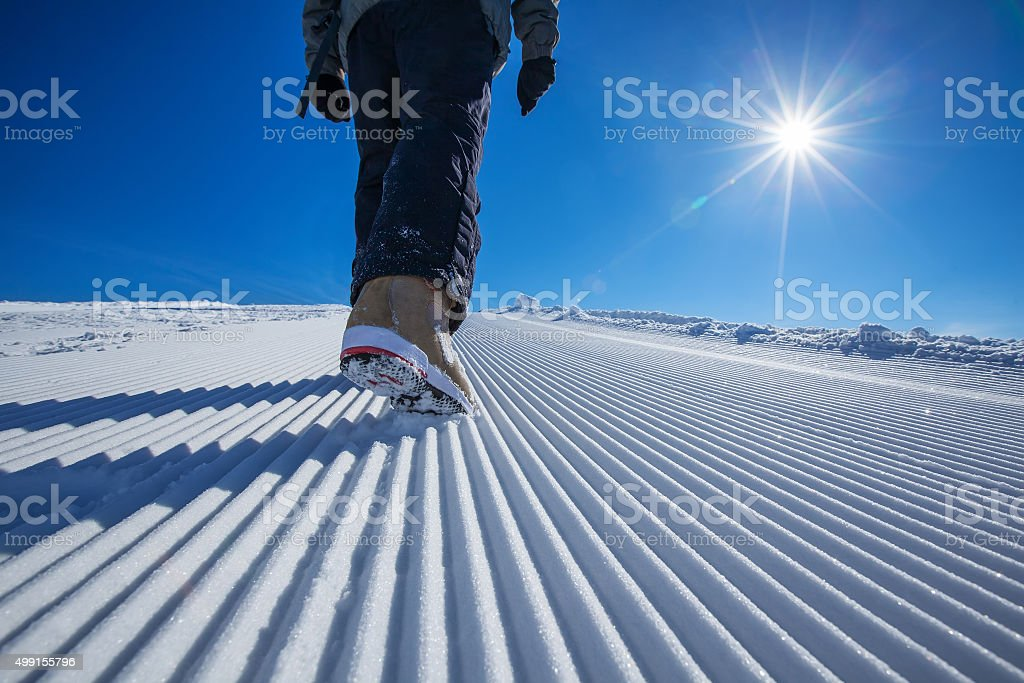 Skier is posing at camera stock photo