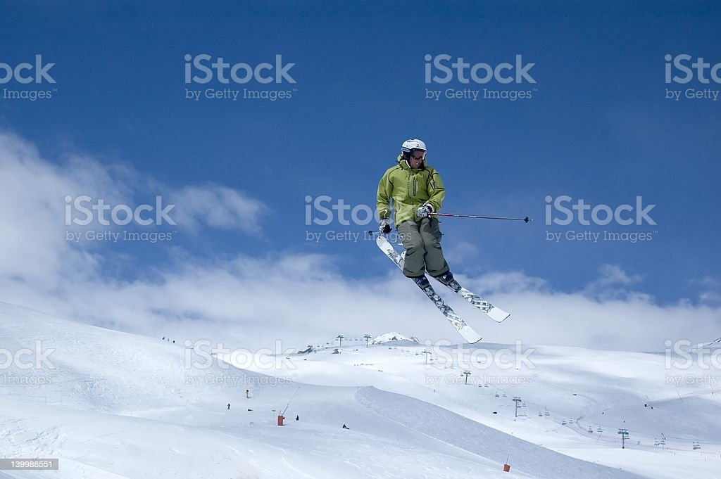 skier jumping high in the air stock photo