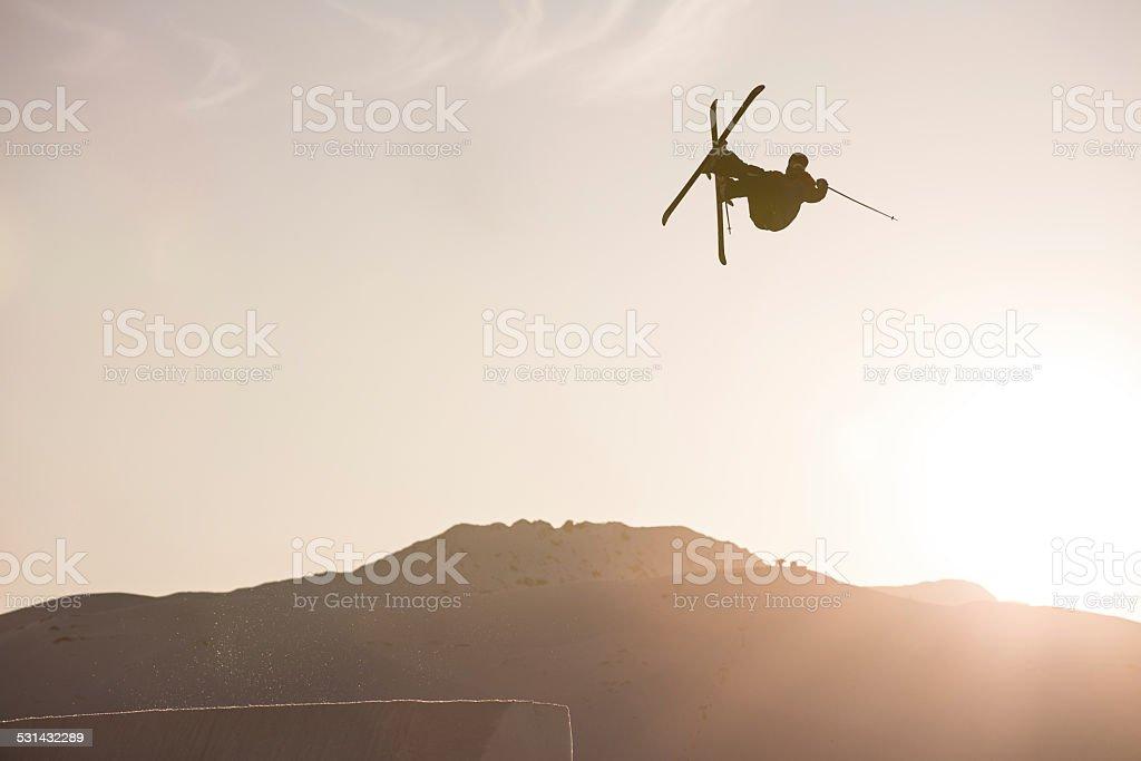 Skier jumping. stock photo