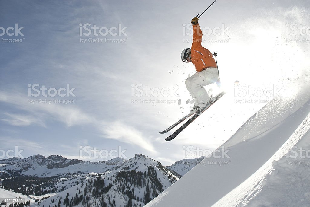 Skier Jumping Ridge stock photo