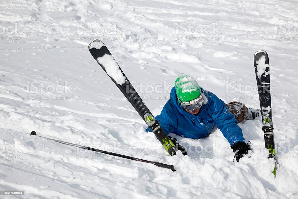 Skier just after they have had an accident stock photo
