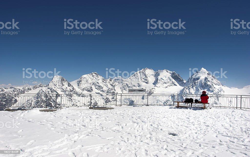 Skier Looking At Panorama stock photo