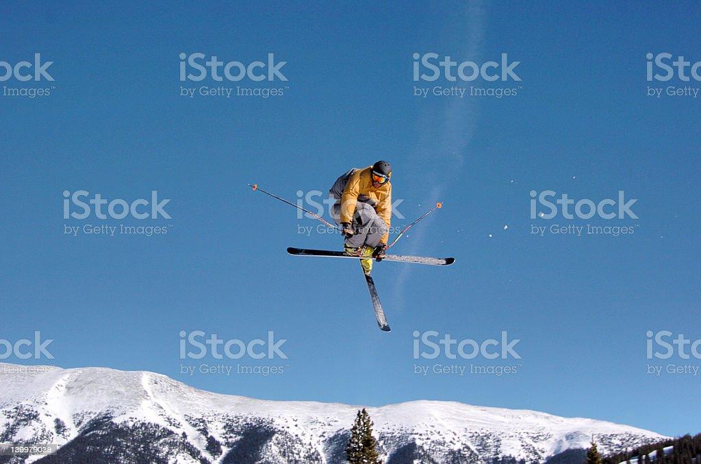 Skier mute grab stock photo
