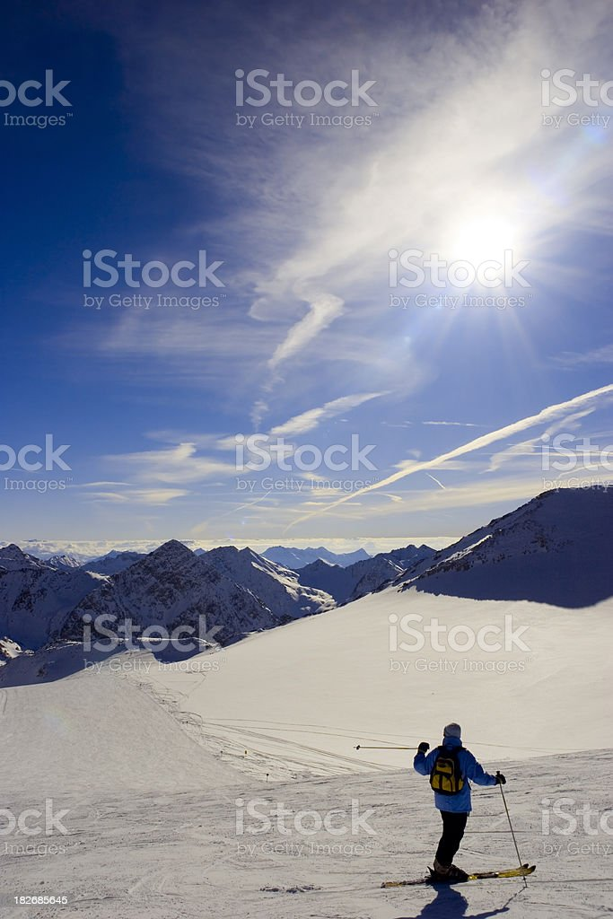 Skier on glacier stock photo