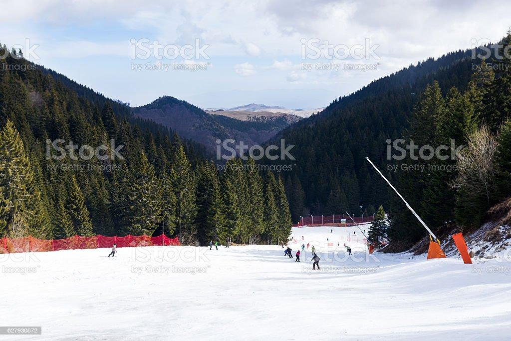 skier on ski run, skiing downhill, winter sport
