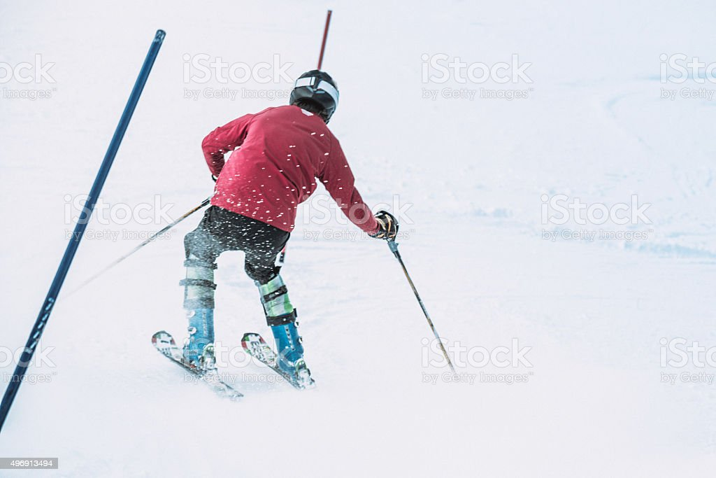 skier on slalom competition stock photo